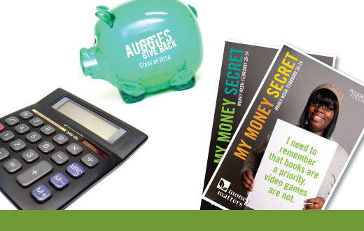 Calculator, piggy bank, and money matters posters