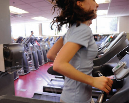 Rachel Hastings runs on a treadmill