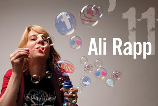 Ali Rapp blows bubbles