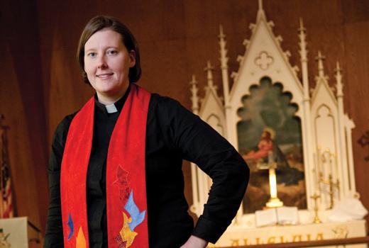 Jeni Falkman Grangaard stands in a sanctuary