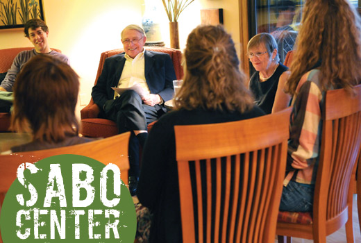 Martin and Sylvia Sabo visit with current Augsburg students