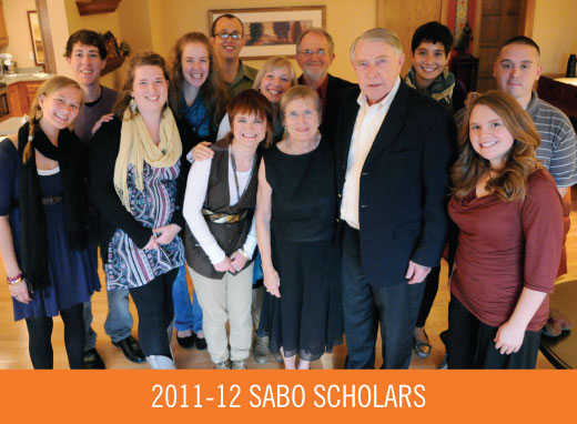 2011-12 Sabo Scholars stand with Martin and Sylvia Sabo