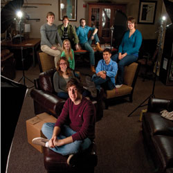 Augsburg honors students pose during photoshoot