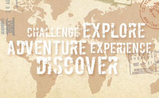 "map image that says ""challenge, explore, adventure, experience, discover"""