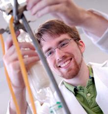 Brian Krohn in a lab