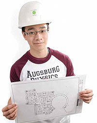 Augsburg student wears a hardhat